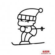 小男孩堆雪人的画法人物动作
