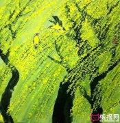 唯美水粉风景画图片,万条垂下绿丝绦