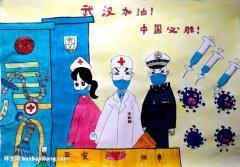 武汉加油中国必胜儿童画,武汉加油儿童画画作品