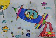 儿童科幻画大全一等奖图片,又简单又漂亮的科幻画
