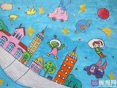 儿童科幻画图片,我想象中的未来世界